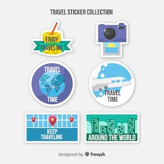 Conjunto de adesivos de viagens de diferentes formas