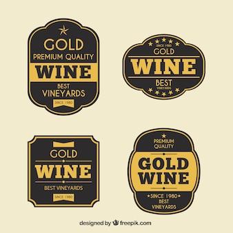 Conjunto de adesivos de vinho dourado retro