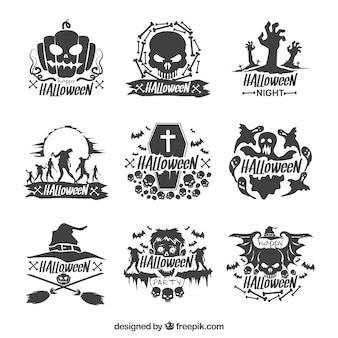 Conjunto de adesivos decorativos desenhados a mão no halloween