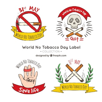 Conjunto de adesivos desenhados à mão anti-fumo