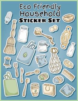 Conjunto de adesivos domésticos amigável de eco