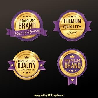 Conjunto de adesivos dourados e roxos premium