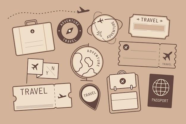 Conjunto de adesivos e crachás de viagem