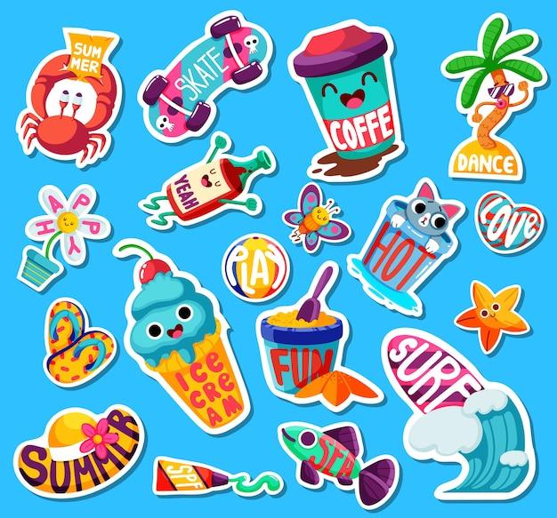 Conjunto de adesivos e emblemas de verão brilhantes engraçados.