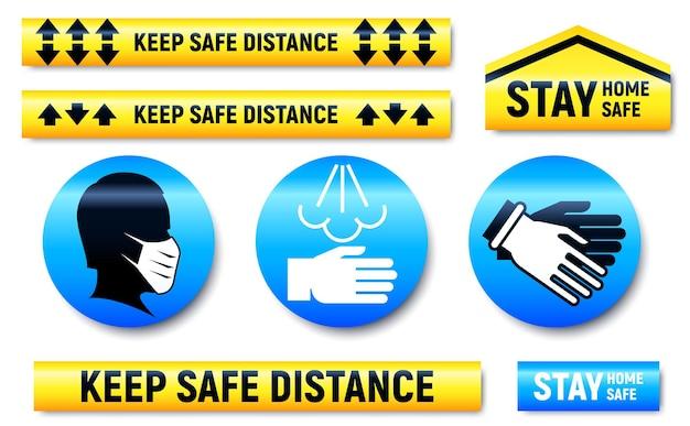 Conjunto de adesivos e marcadores para manter a distância e ficar em casa