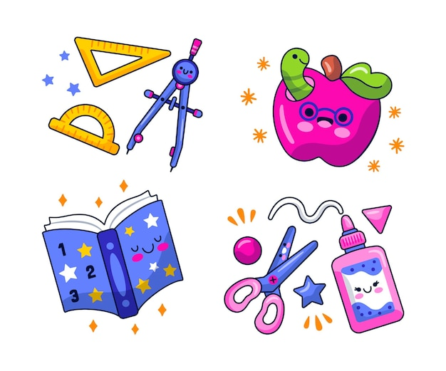 Conjunto de adesivos educacionais de desenho animado