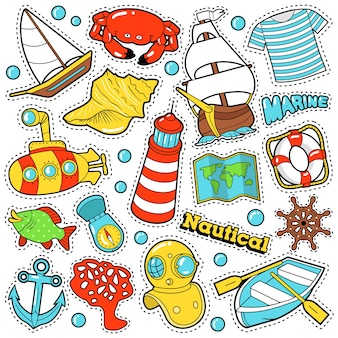 Conjunto de adesivos, emblemas, patches da vida marinha náutica para impressões e têxteis com barcos e elementos do mar. doodle em estilo cômico