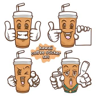 Conjunto de adesivos emoji com ilustração de café kawaii