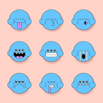 Conjunto de adesivos emoji de sapo monstro azul