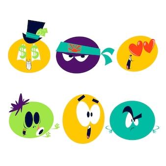 Conjunto de adesivos emoticons de desenhos animados retrô