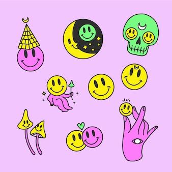 Conjunto de adesivos engraçados de cores ácidas desenhados à mão