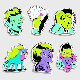 Conjunto de adesivos engraçados desenhados à mão de cores ácidas