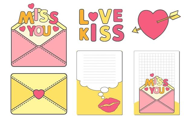 Conjunto de adesivos engraçados para fazer a lista. história de amor para o dia de casamentos ou dia dos namorados