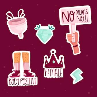 Conjunto de adesivos feministas fofos