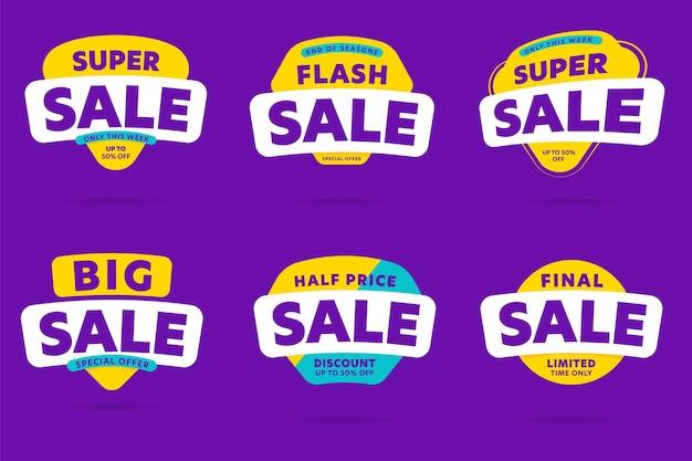 Conjunto de adesivos flash, super, final, metade do preço e grande liquidação.