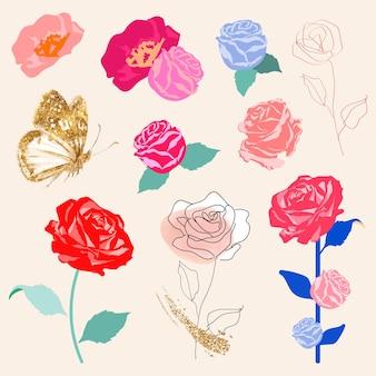 Conjunto de adesivos florais de rosas coloridas