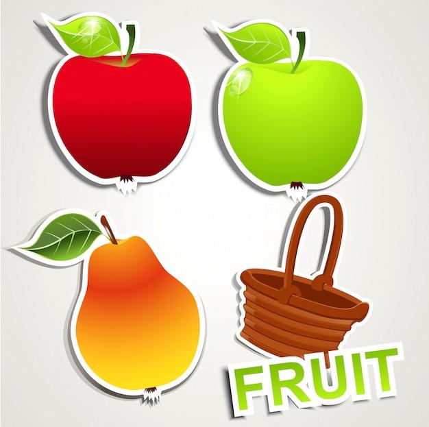 Conjunto de adesivos, frutas