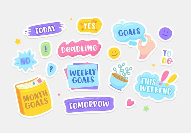 Conjunto de adesivos hoje, prazo, sim ou não e tarefas pendentes. este fim de semana, amanhã, metas mensais e semanais ou este fim de semana. sorriso, coração e copo isolado no fundo branco. ilustração em vetor de desenho animado