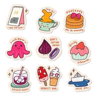 Conjunto de adesivos kawaii conjunto de doodle de coleção de design de remendo de moda