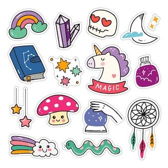 Conjunto de adesivos kawaii no estilo doodle