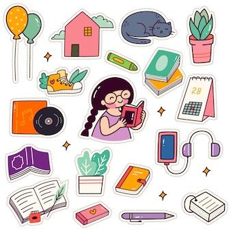 Conjunto de adesivos kawaii para menina lendo livro patches design