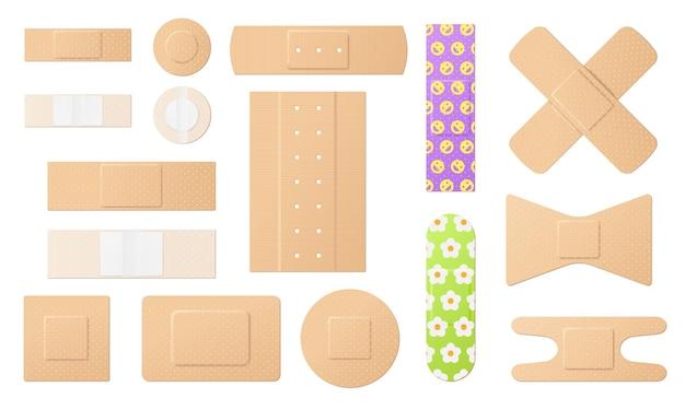 Conjunto de adesivos médicos e bandagens adesivas