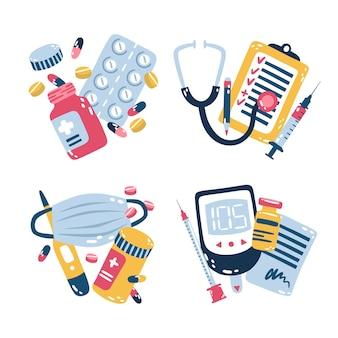 Conjunto de adesivos médicos ilustrados