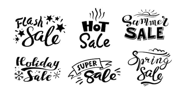 Conjunto de adesivos monocromáticos de venda sazonal com elementos abstratos e tipografia isolada no fundo branco.