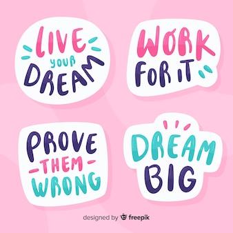 Conjunto de adesivos motivacionais citação letras