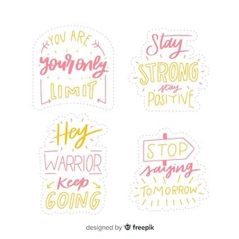 Conjunto de adesivos motivacionais letras