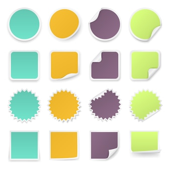 Conjunto de adesivos multicoloridos com cantos arredondados em formas diferentes.