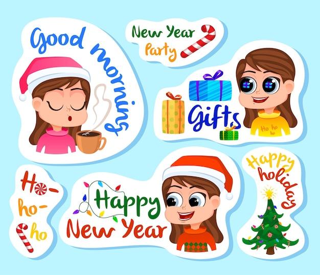 Conjunto de adesivos ou ímãs de ano novo, lembranças festivas, etiquetas de adesivos de feriados