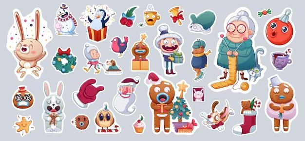 Conjunto de adesivos ou ímãs de feliz natal e feliz ano novo. lembranças festivas.