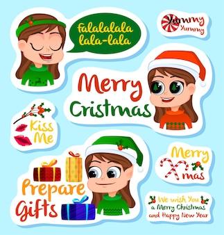 Conjunto de adesivos ou ímãs de natal e ano novo, lembranças festivas, etiquetas de adesivos de feriados