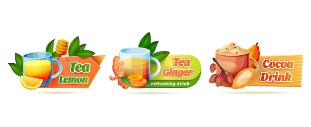 Conjunto de adesivos para bebidas aromáticas quentes ou frias