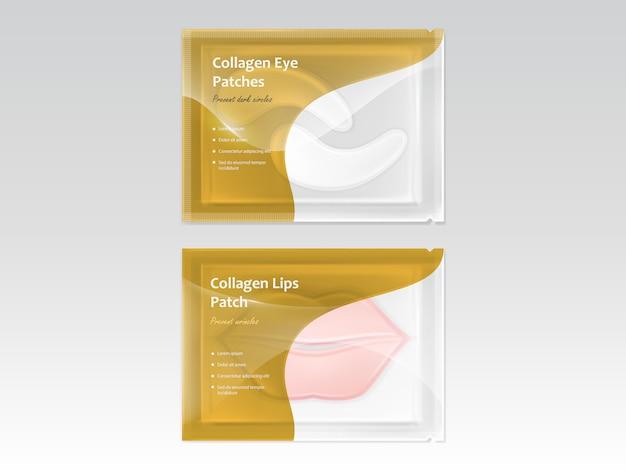 Conjunto de adesivos para lábios e olhos, com hidrogel e colágeno, em sachê descartável