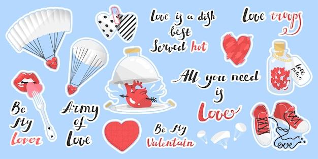 Conjunto de adesivos para o dia dos namorados citações de ilustração vetorial sobre o amor