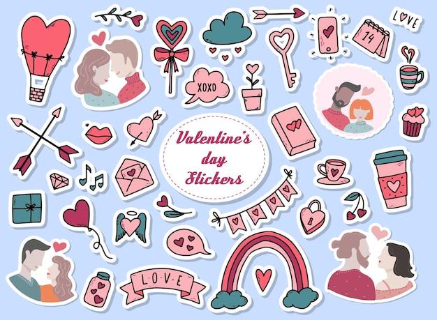 Conjunto de adesivos para o dia dos namorados
