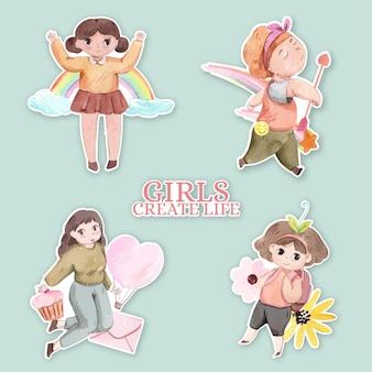 Conjunto de adesivos para o dia internacional das meninas em estilo aquarela