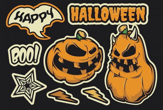 Conjunto de adesivos para o halloween com uma abóbora.