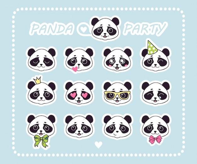 Conjunto de adesivos pequeno urso panda com emoções diferentes.