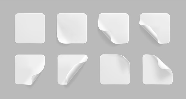 Conjunto de adesivos quadrados brancos colados com cantos enrolados