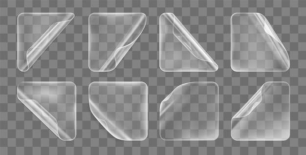 Conjunto de adesivos quadrados transparentes colados com cantos ondulados Vetor Premium