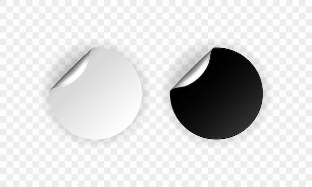 Conjunto de adesivos redondos em branco. etiquetas promocionais vazias. ilustração vetorial. redondo preto e branco