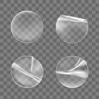 Conjunto de adesivos redondos transparentes