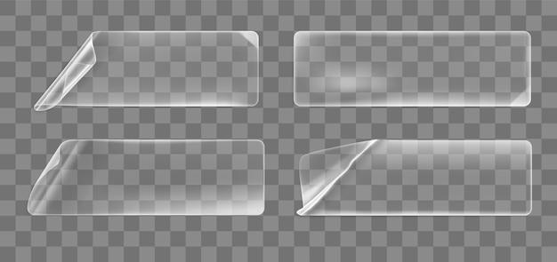 Conjunto de adesivos retangulares amassados e colados transparentes com cantos ondulados.