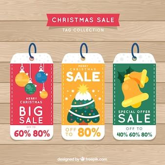 Conjunto de adesivos retro para vendas de natal
