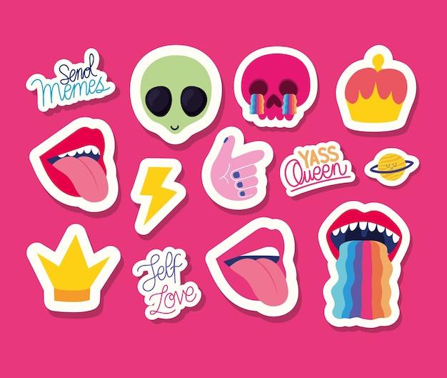 Conjunto de adesivos sobre fundo rosa