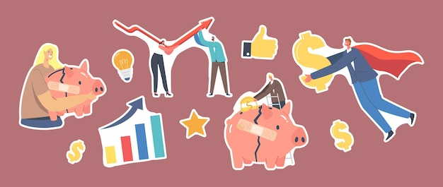 Conjunto de adesivos tema de recuperação econômica. personagem de mulher de negócios com cofrinho quebrado, empresário subindo gráfico de seta em forma de v, super-herói com dólar dourado. ilustração em vetor desenho animado