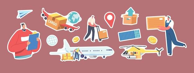 Conjunto de adesivos tema transporte de carga aérea. personagens do carregador carregando pacotes em avião e helicóptero, caixa alada, pino de navegação, trabalhador com empilhadeira. ilustração em vetor desenho animado